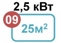 2,5 кВт - 25 м2